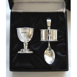 Sterling Silver Egg Cup, Spoon and Napkin Ring in Gift Box