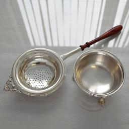 Sterling Silver Tea Strainer and Bowl