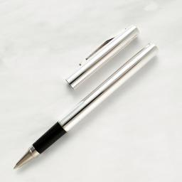 The William Manton Sterling Silver Roller Ball Pen with Barley Engine Turned Pattern or Plain