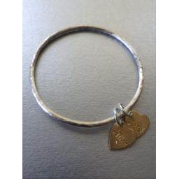 Z DISCONTINUED Sterling Silver Family Bangle with 1 Plain Gold plated Heart