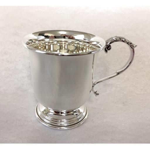 Christening Cup - Acnathus Leaf Handle - Sterling Silver