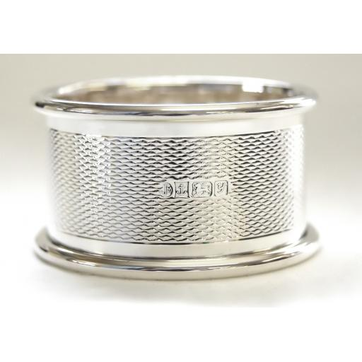Napkin Ring - Sterling Silver - Engine Turned Pattern