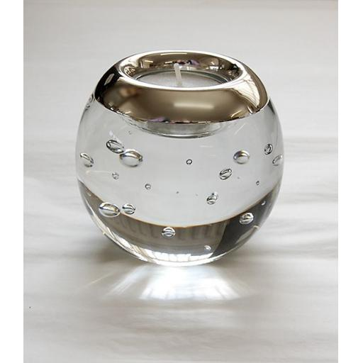 Isle of Wight Crystal Tealight Holder with Silver mount