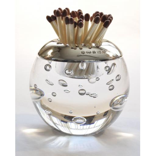 Isle of Wight Crystal Random Bubble Match Striker with Sterling Silver Mount