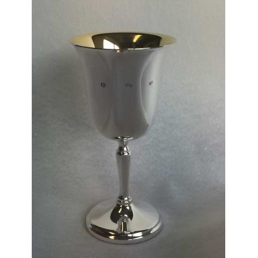Sterling Silver Wine Goblet Gilt inside.